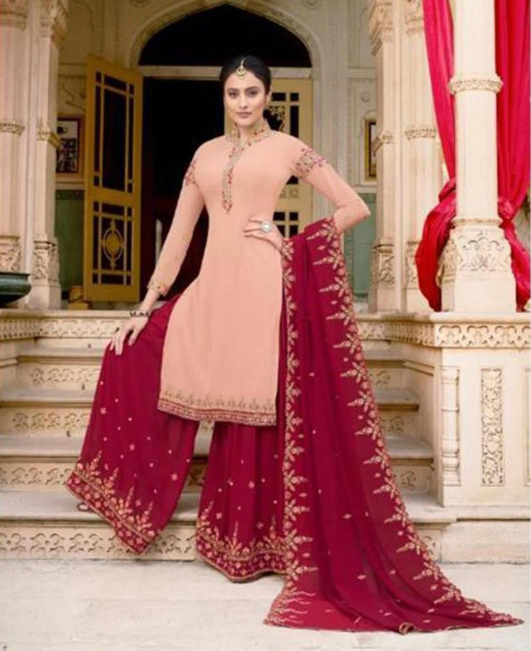 Embroidered Georgette PeachPuff Palazzo Suit Salwar