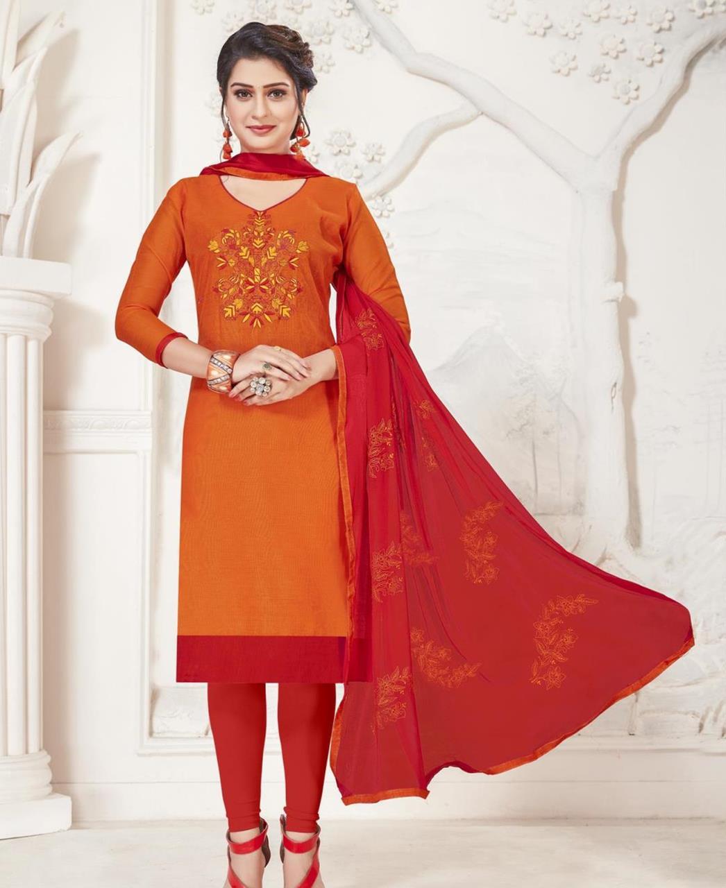 Embroidered Silk Orange Straight Cut Salwar