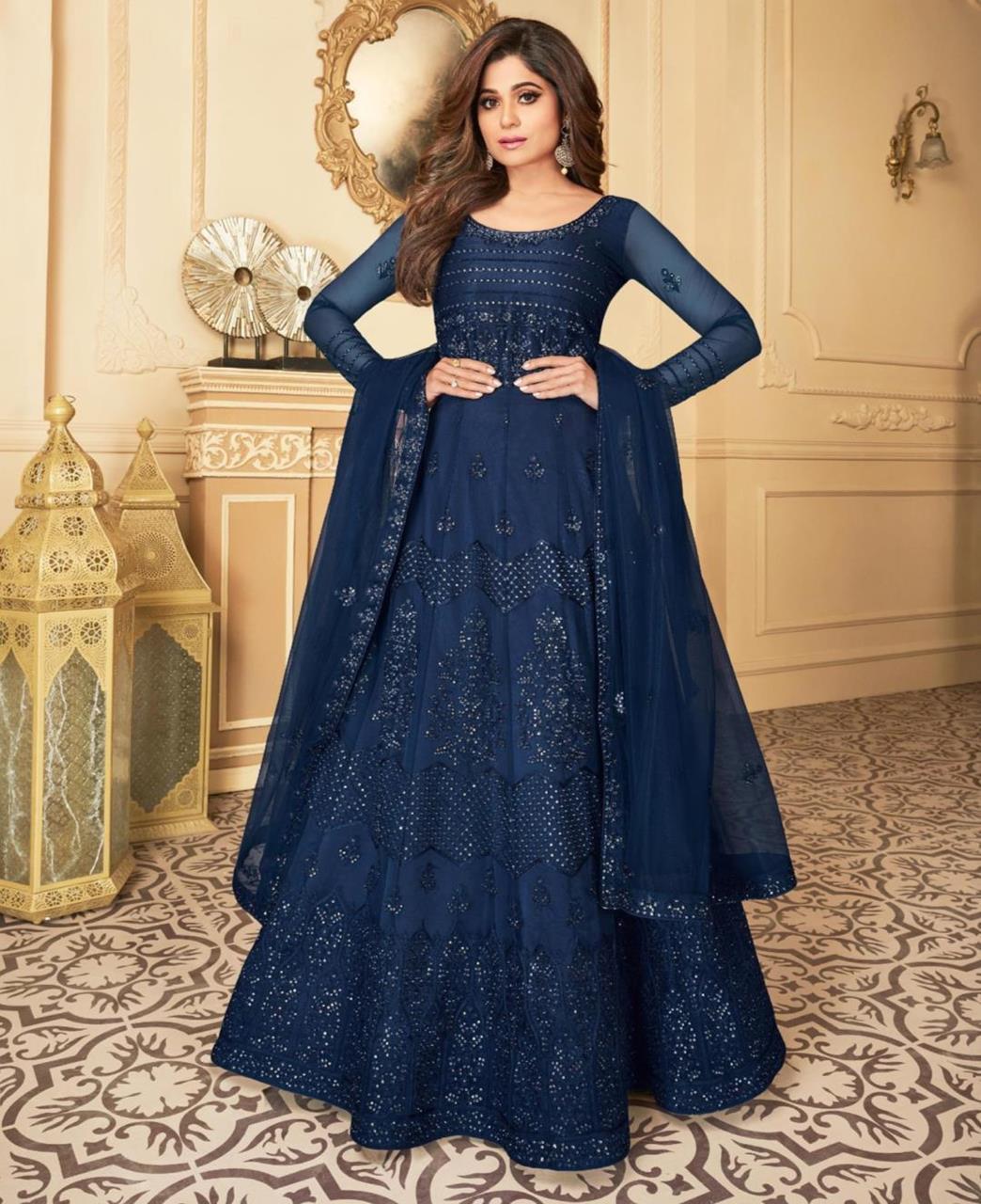 Thread Satin Abaya Style Salwar in Navy Blue