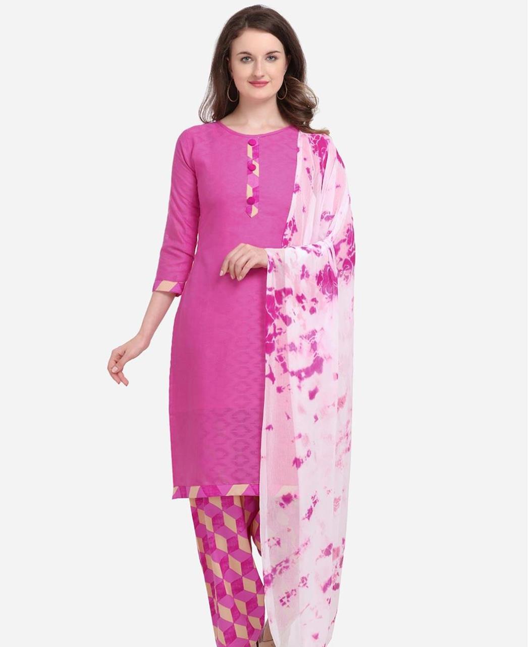 Embroidered Cotton Patiyala Suit Salwar in Rani Pink