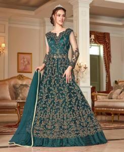Sequins Net Abaya Style Salwar in Teal Blue