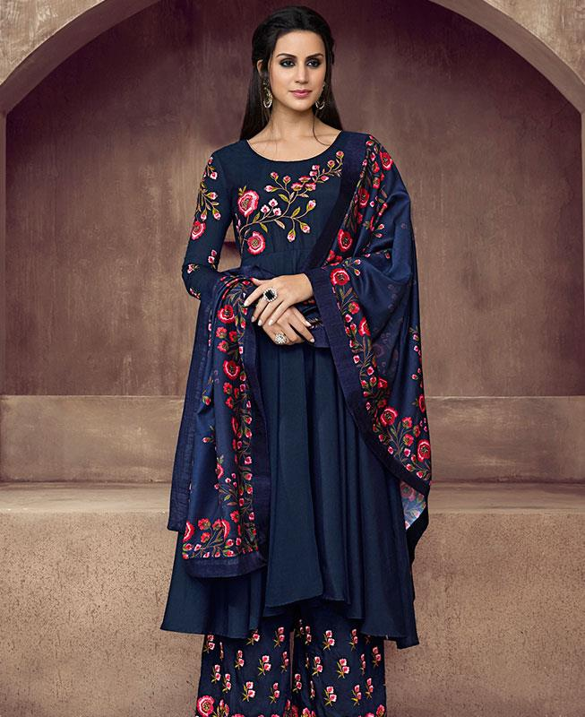 Embroidered Faux Georgette Blue Palazzo Suit Salwar Kameez