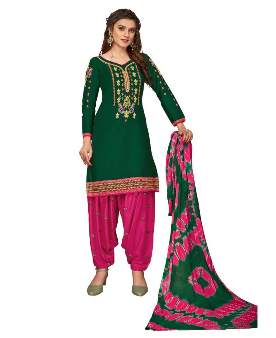 Stone Work Cotton Patiyala Suit Salwar in Green