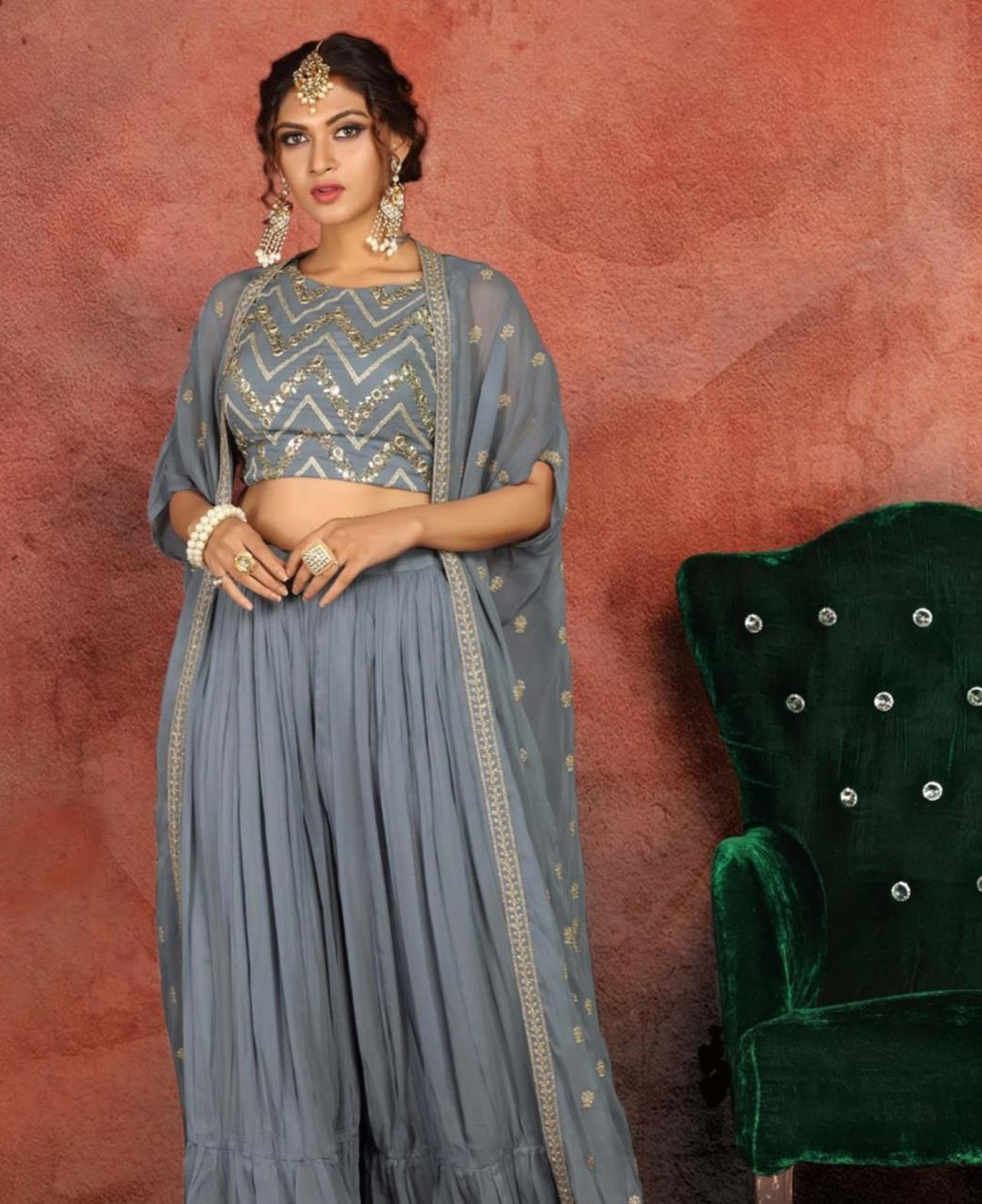 Embroidered Georgette Straight cut Salwar Kameez in Grey