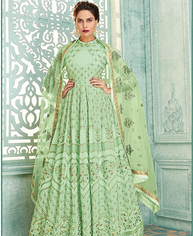 Embroidered Georgette MINTCREAM Abaya Style Salwar