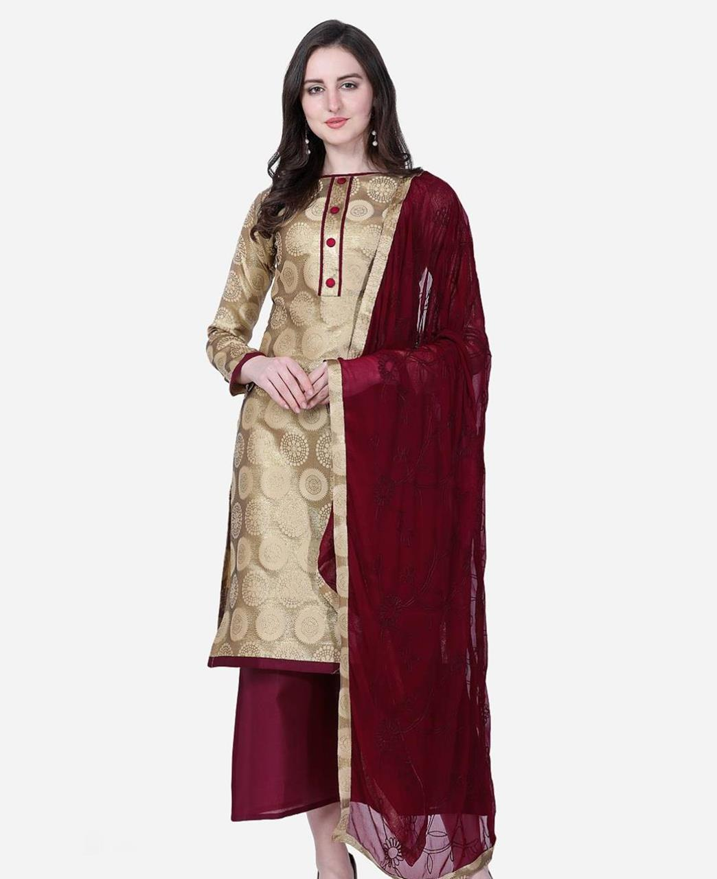 Embroidered Cotton Straight cut Salwar Kameez in Gold