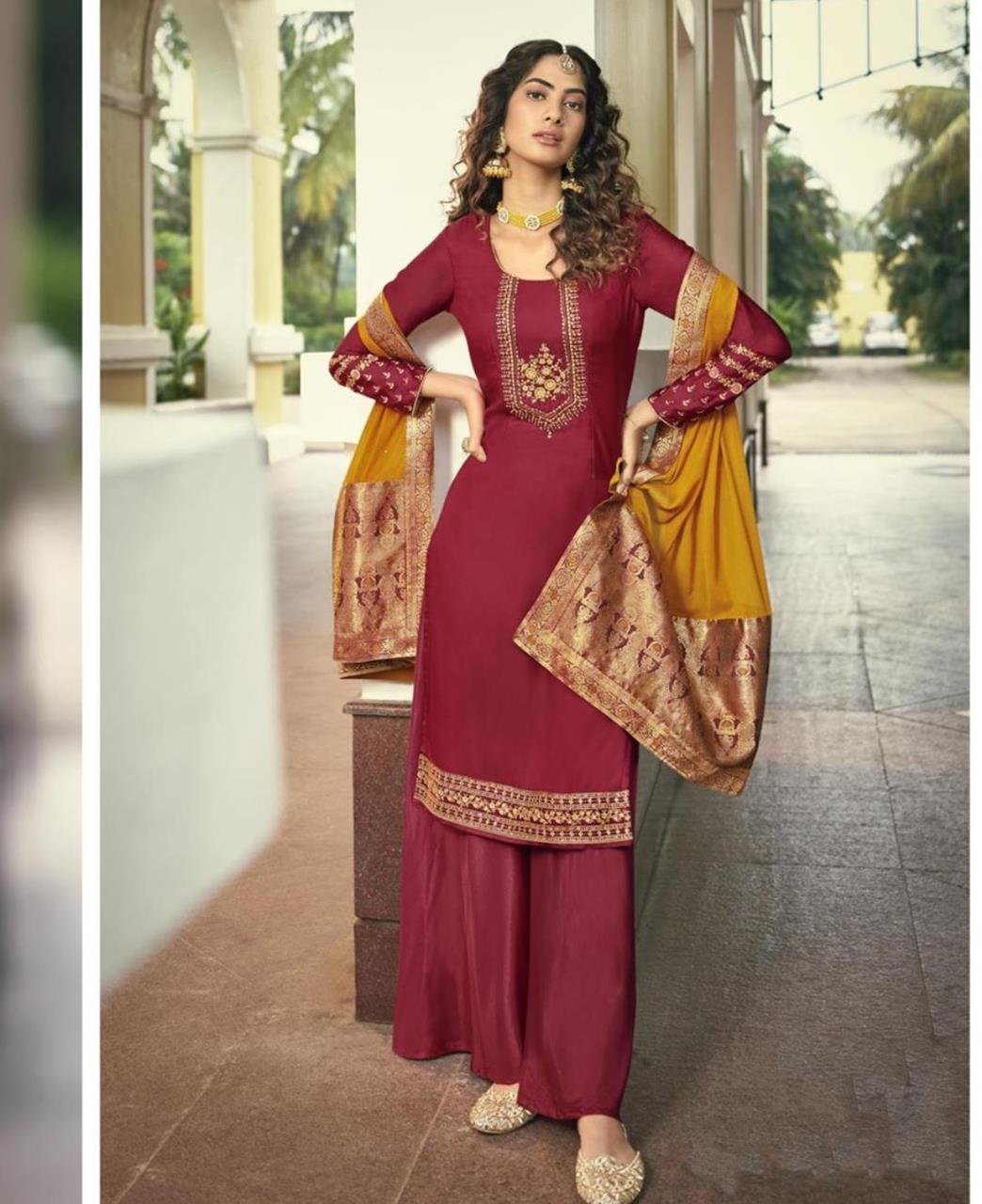 Resham Georgette Straight cut Salwar Kameez in Red