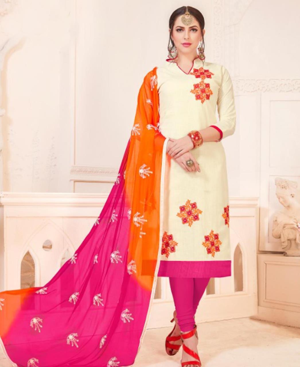 Embroidered Cotton White Straight Cut Salwar Kameez