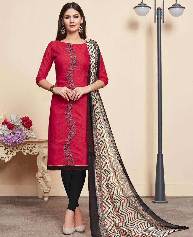 Embroidered Cotton Straight cut Salwar Kameez in Cherry Red