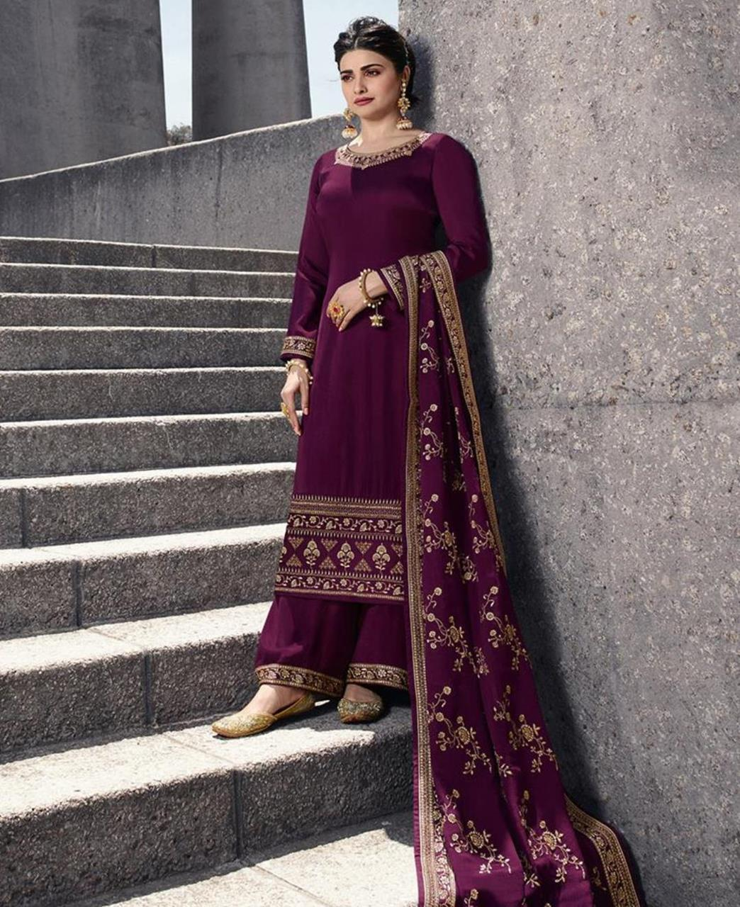 Resham Georgette Straight cut Salwar Kameez in Purple