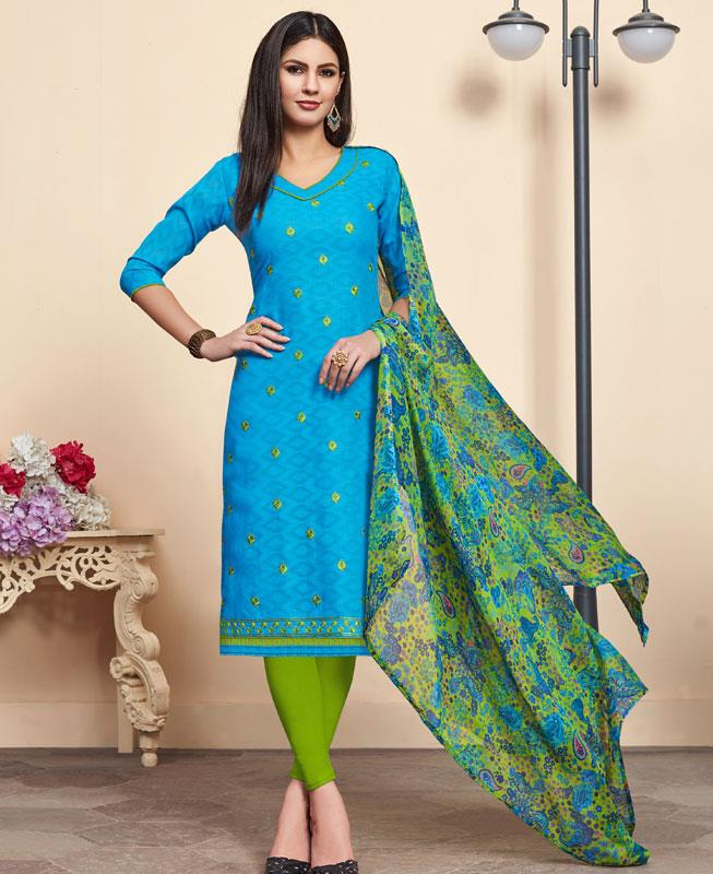 Embroidered Cotton Straight cut Salwar Kameez in Sky Blue