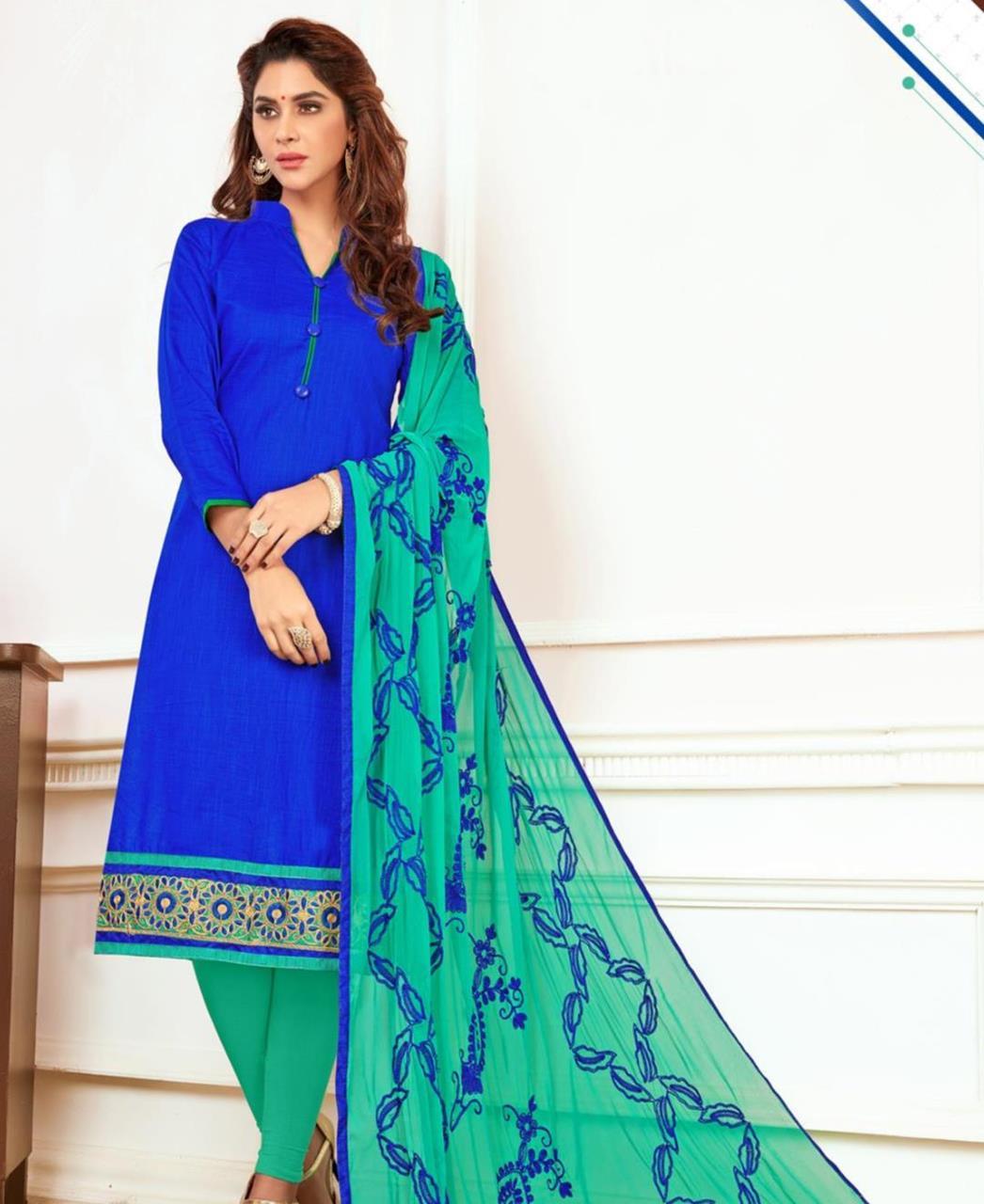 Embroidered Cotton Blue Straight Cut Salwar Kameez