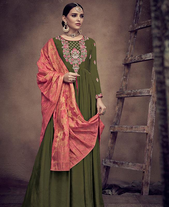 Embroidered Satin OLIVE Abaya Style Salwar