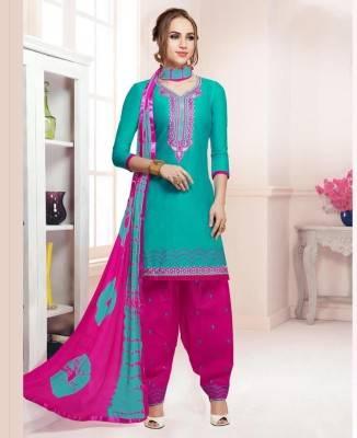 Printed Cotton Turquoise Patiyala Salwar Kameez