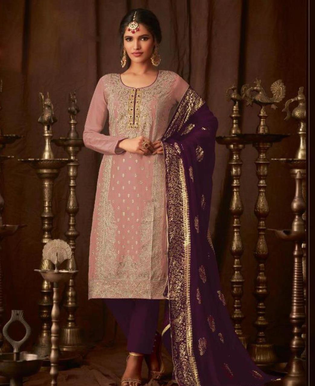 Georgette Straight cut Salwar Kameez in Light Pink  ,  Purple