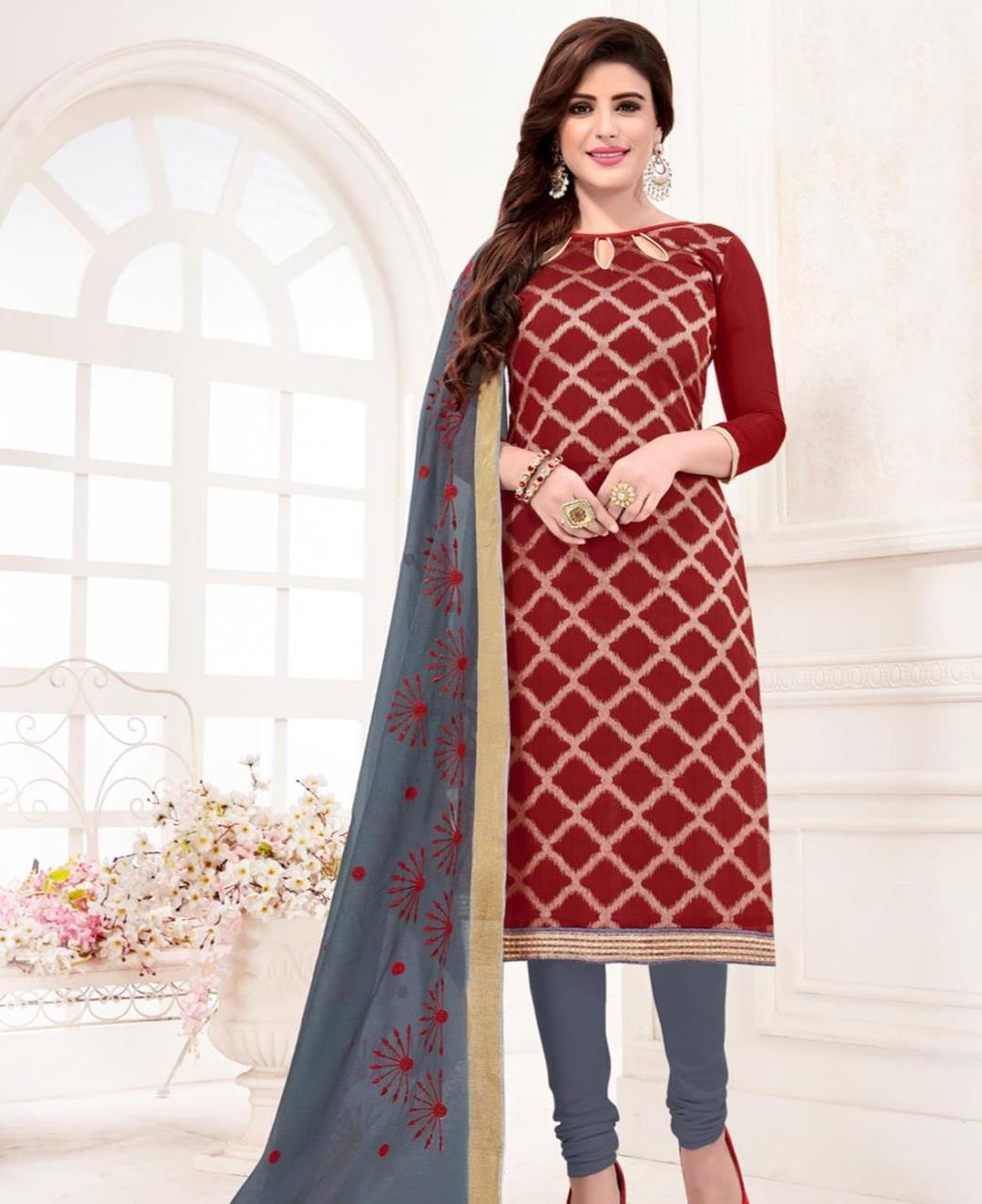 Embroidered Banarasi Silk Maroon Straight Cut Salwar