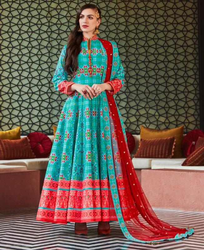HandWorked Cotton Straight cut Salwar Kameez in Sky Blue