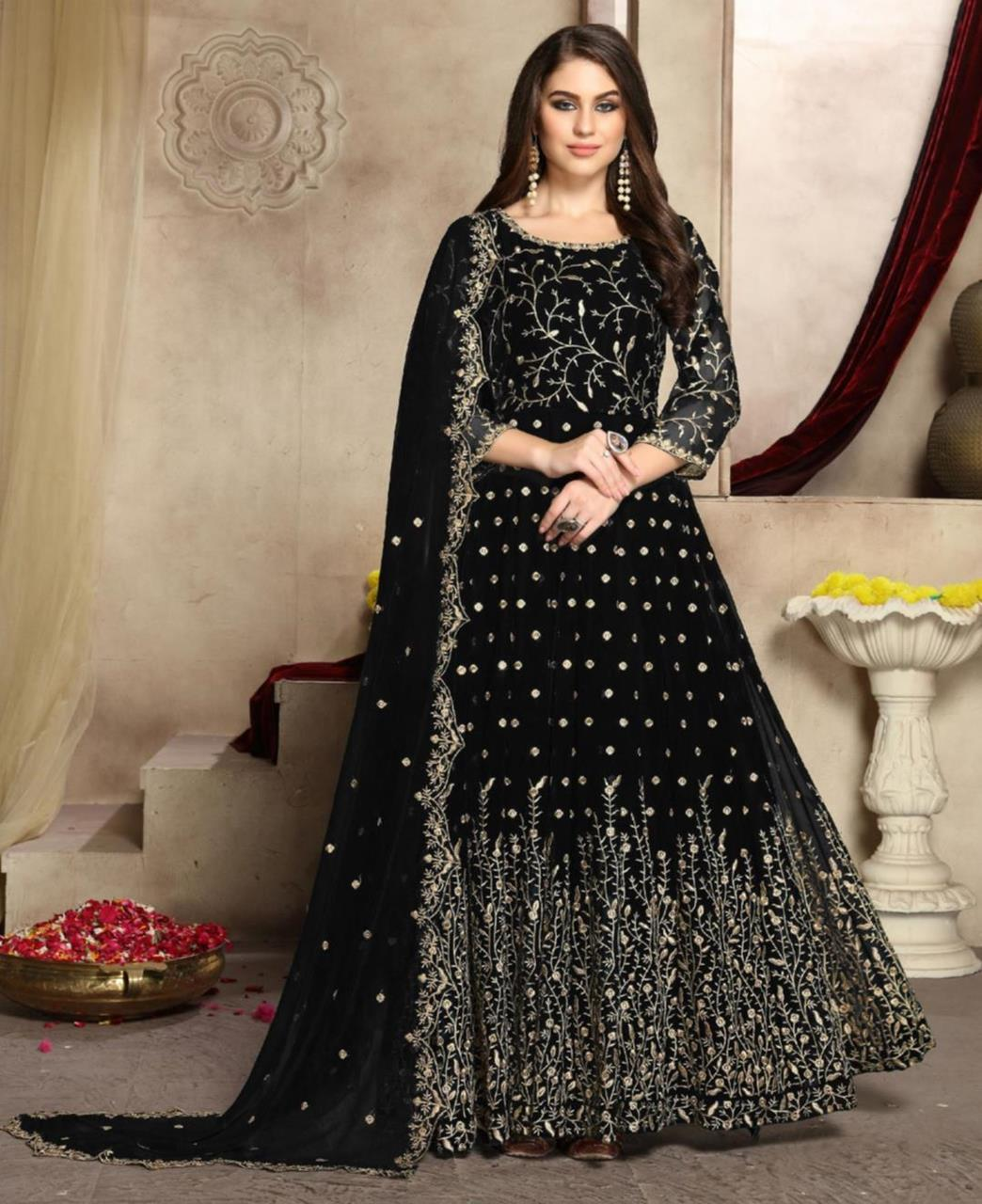 Embroidered Georgette Abaya Style Salwar in Black