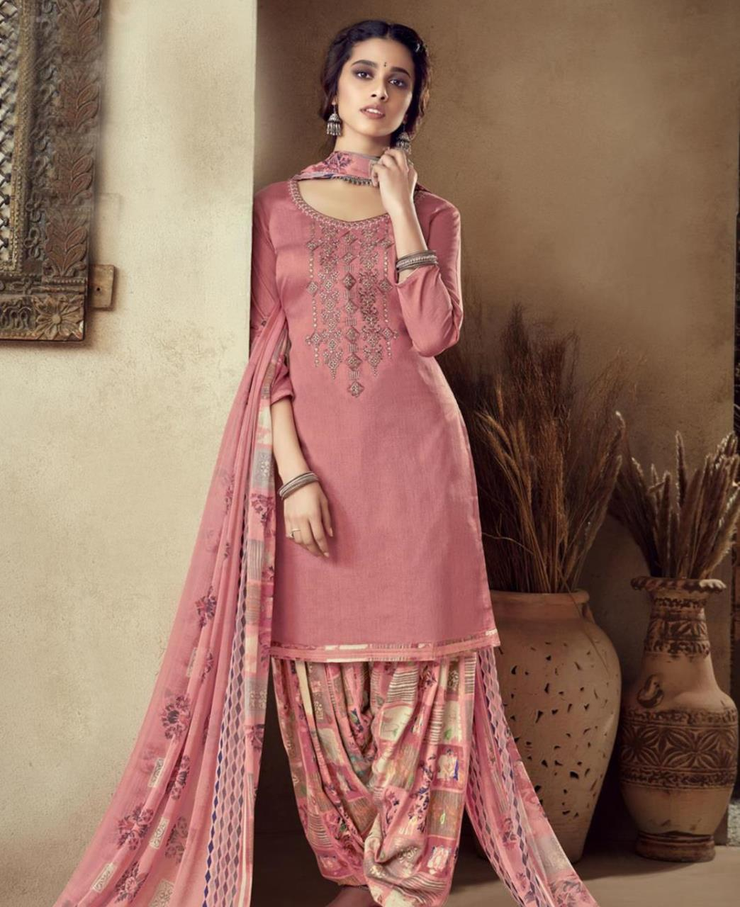 Thread Cotton Patiyala Suit Salwar in Peach