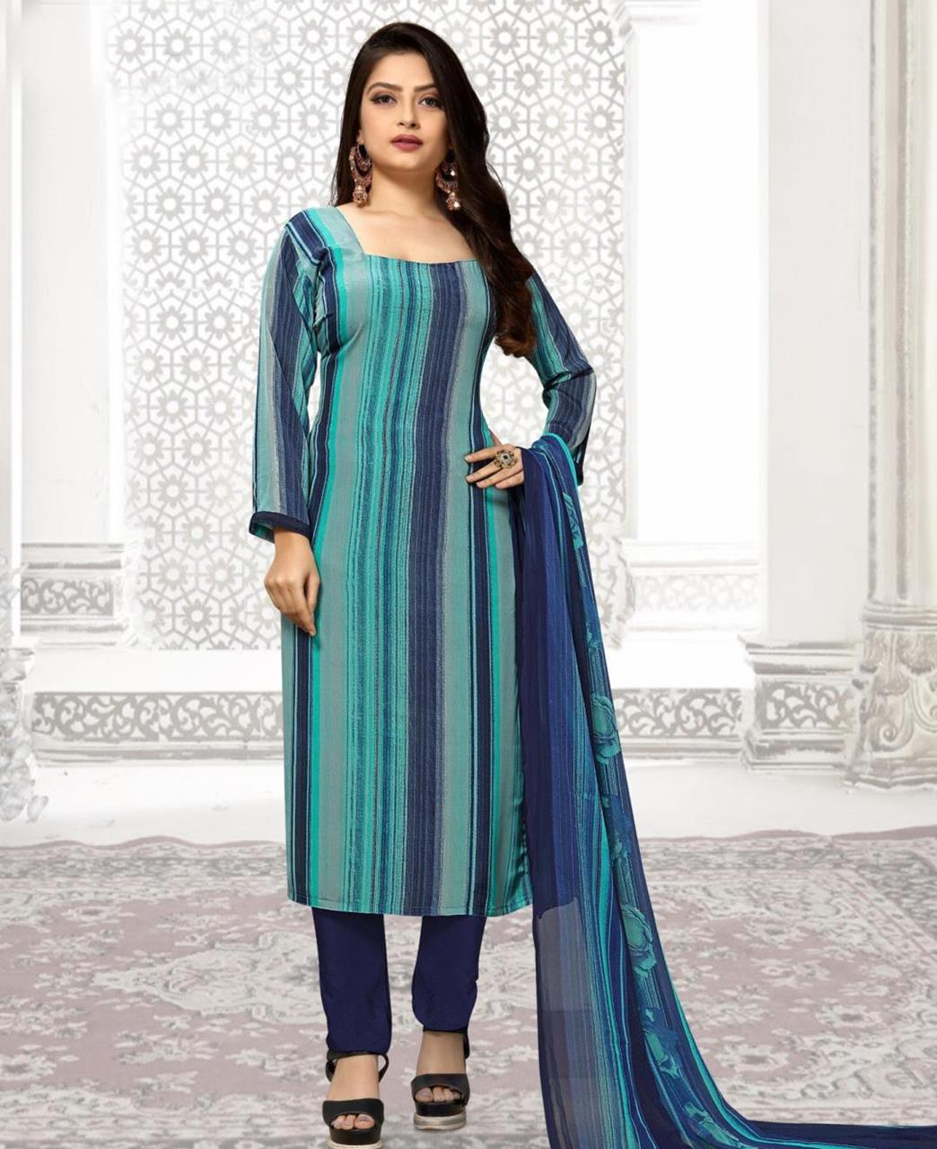 Printed Georgette Straight cut Salwar Kameez in Blue