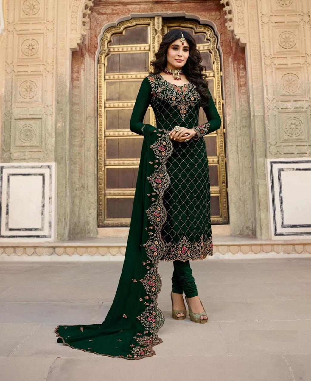 Georgette Straight cut Salwar Kameez in Green