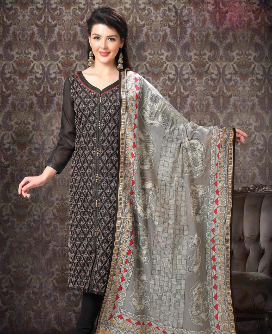 Embroidered Chanderi Silk Black Straight Cut Salwar