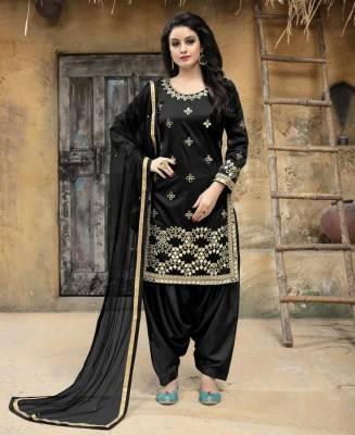 Embroidered Art Silk Black Patiyala Salwar Kameez