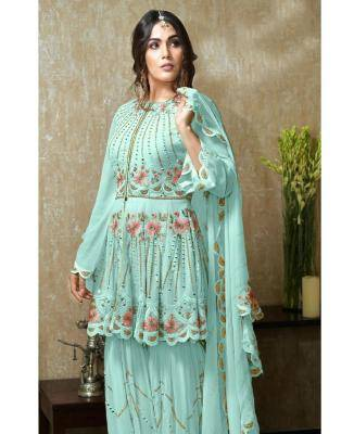 Embroidered Faux Georgette Aqua Palazzo Suit Salwar