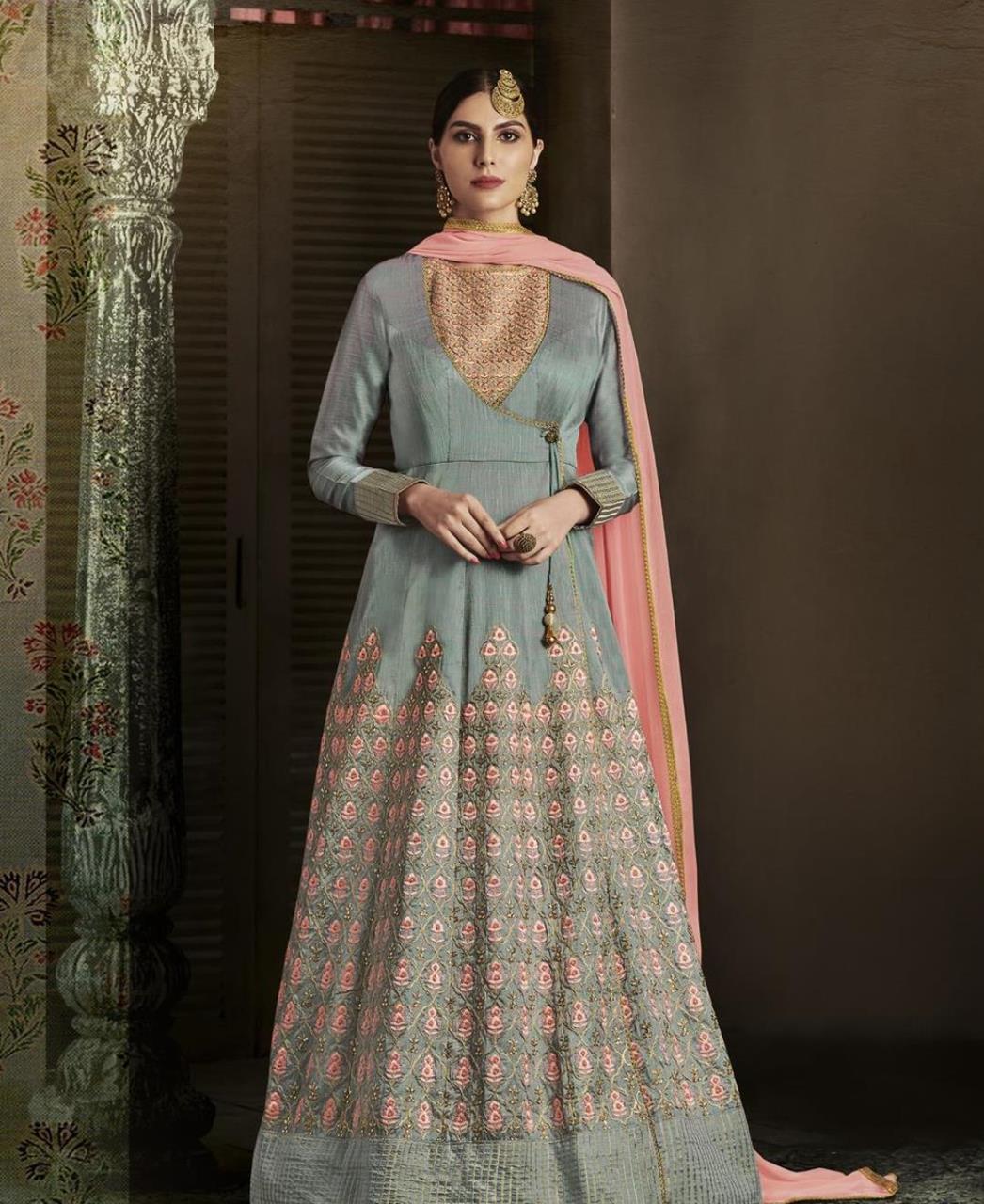 Embroidered Silk Gray Abaya Style Salwar