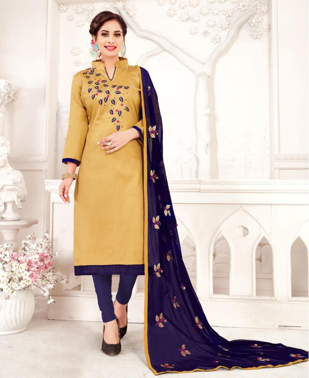 Embroidered Cotton Gold Straight Cut Salwar