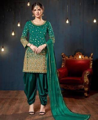 Stone Work Silk Green Patiyala Suit Salwar