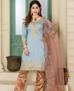 Embroidered Satin SKYBLUE Palazzo Suit Salwar