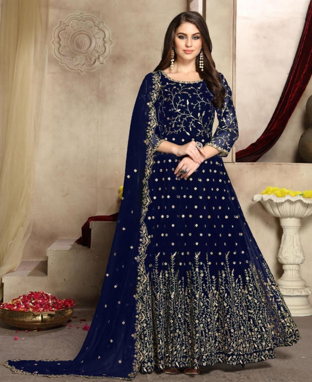 Embroidered Georgette Abaya Style Salwar in Blue