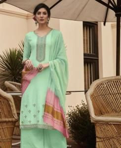 Embroidered Cotton Straight cut Salwar Kameez in Lime Green