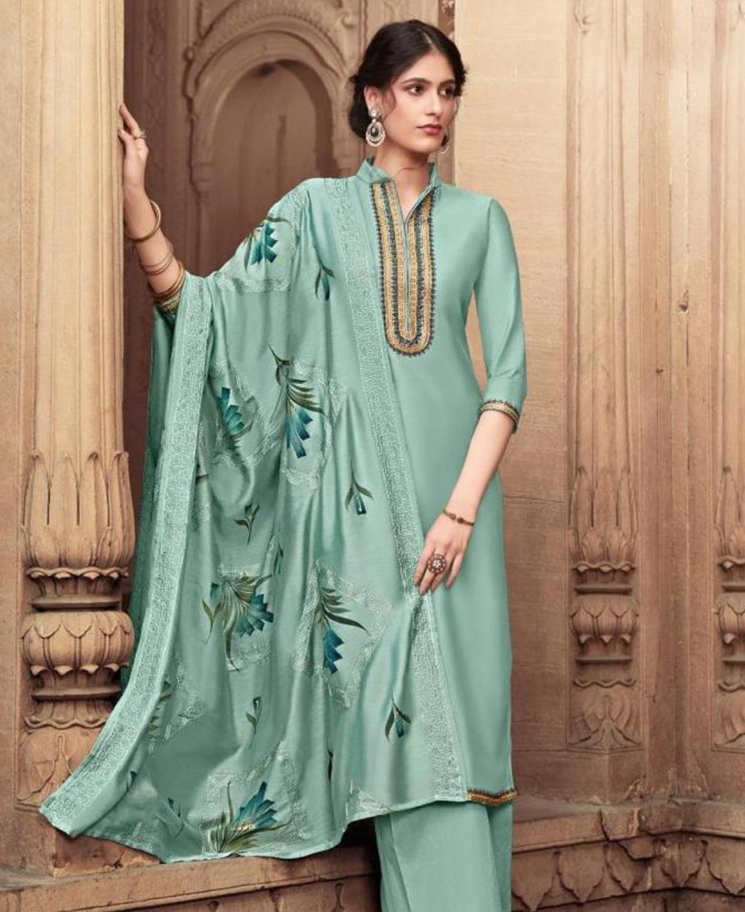 Embroidered Cotton Straight cut Salwar Kameez in Aqua