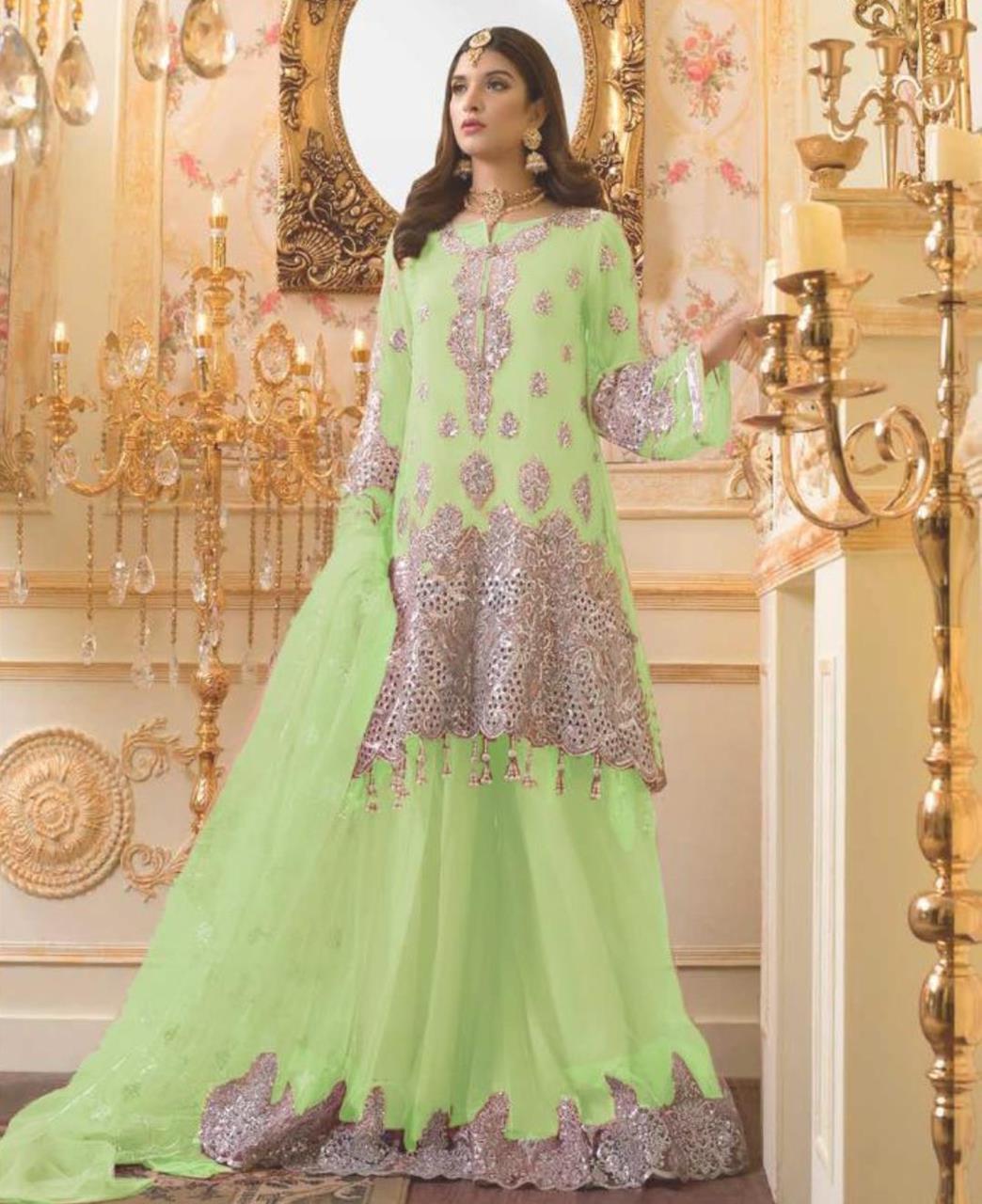 Zari Net Straight cut Salwar Kameez in Light Green
