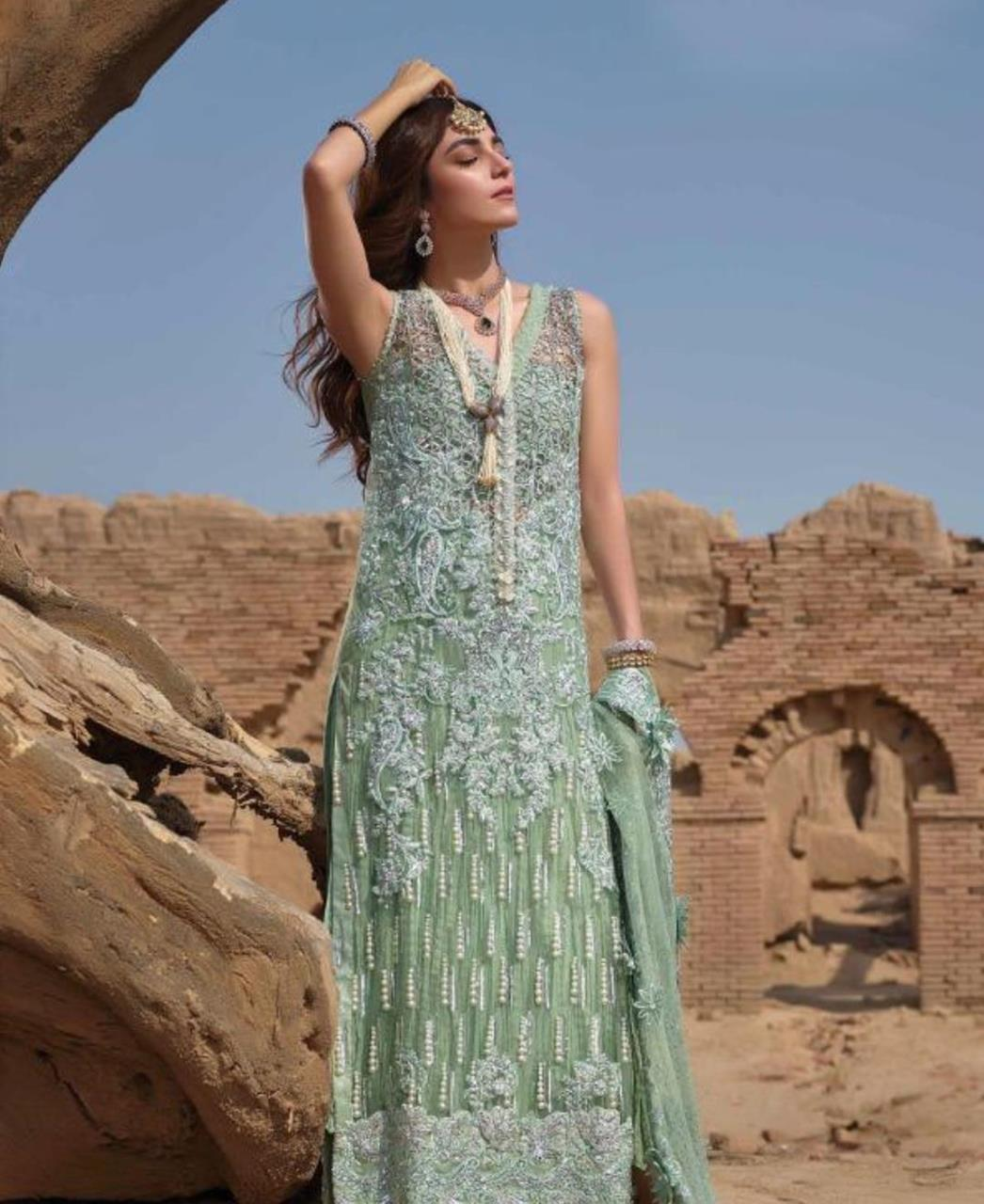 Embroidered Net Straight cut Salwar Kameez in Sea Green