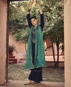Printed Georgette Straight cut Salwar Kameez in Navy Blue