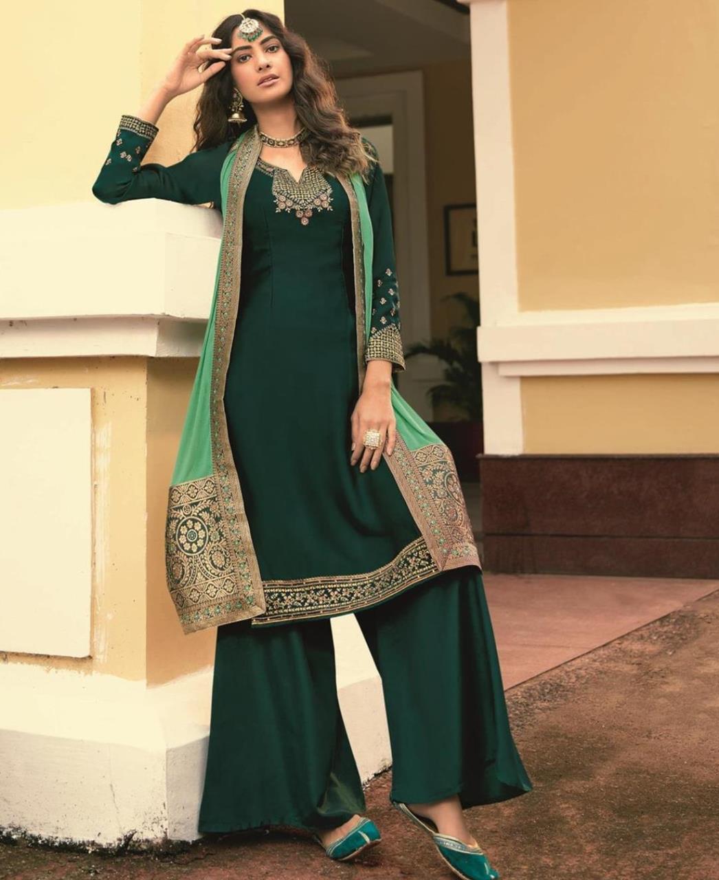 Resham Georgette Straight cut Salwar Kameez in Dark Green