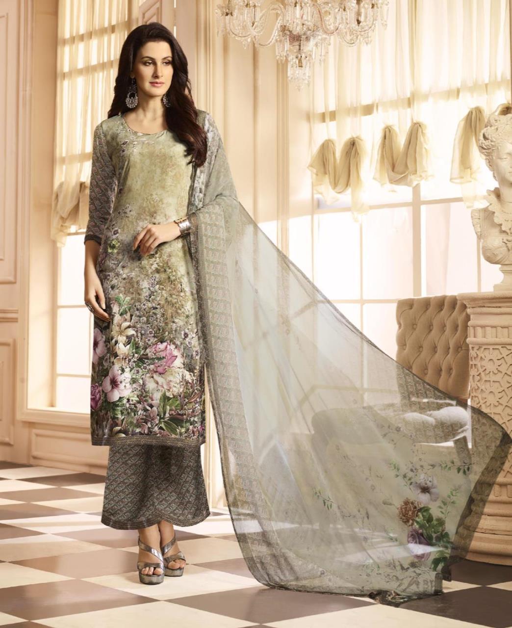 Printed Crepe Green Palazzo Suit Salwar Kameez