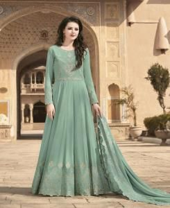 Embroidered Georgette Abaya Style Salwar in Light Rama