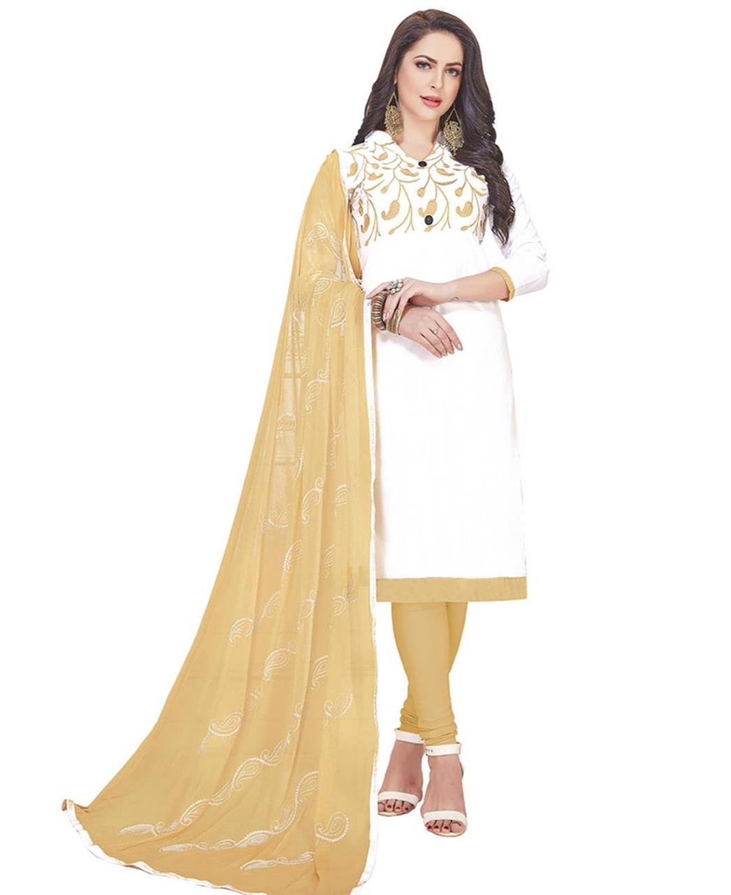 Embroidered Cotton White Straight Cut Salwar