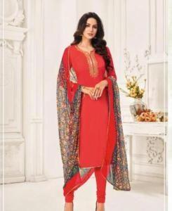 HandWorked Cotton Straight cut Salwar Kameez in Tomato Red