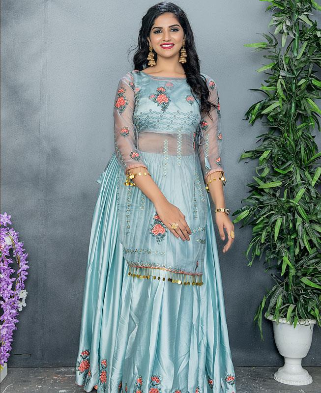 Embroidered Satin Blue Palazzo Suit Salwar