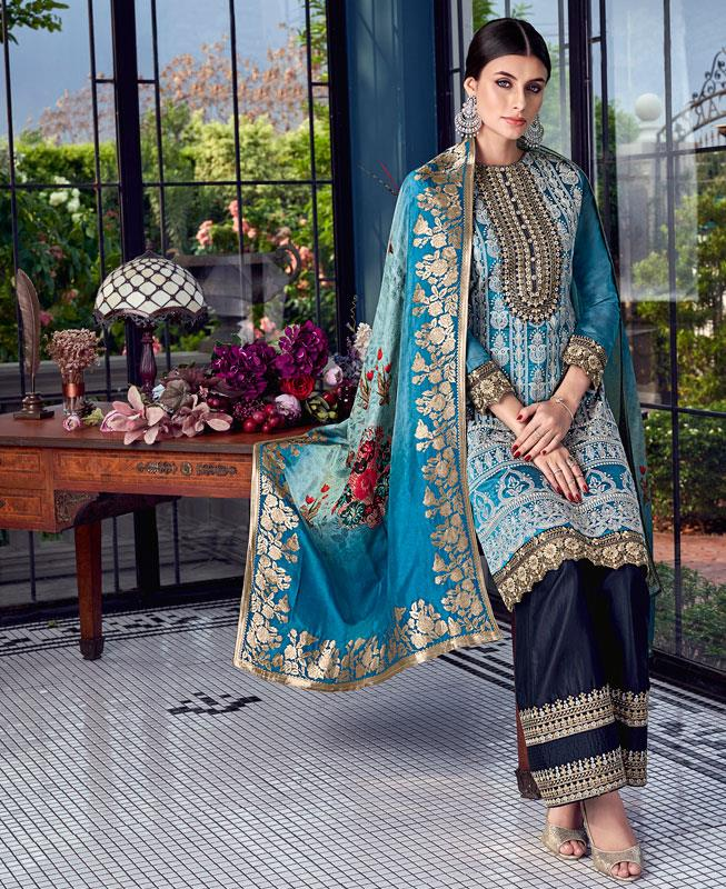 Embroidered Silk Blue Palazzo Suit Salwar Kameez