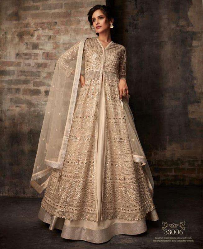 Embroidered Net Beige Abaya Style Salwar