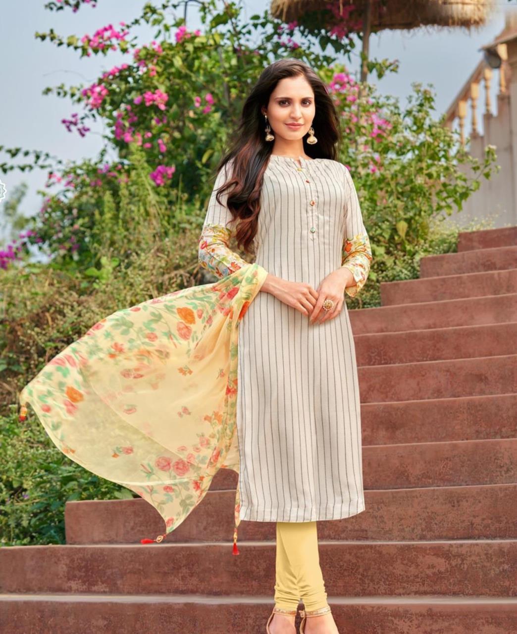 Cotton Straight cut Salwar Kameez in Off white