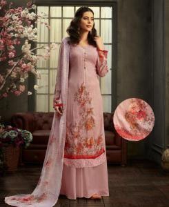 HandWorked Georgette Straight cut Salwar Kameez in Baby Pink