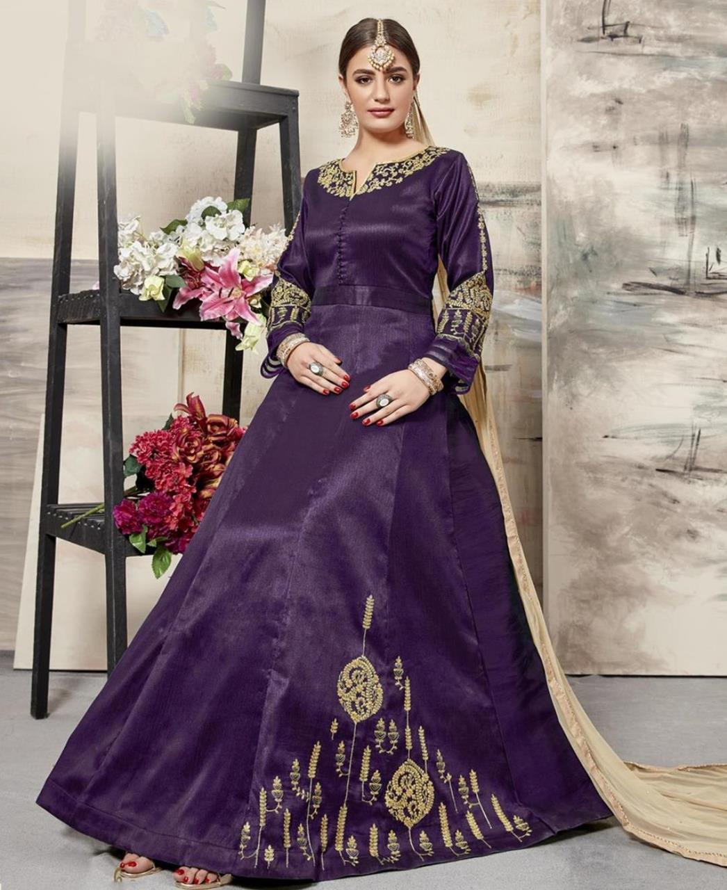 Embroidered Silk Purple Abaya Style Salwar