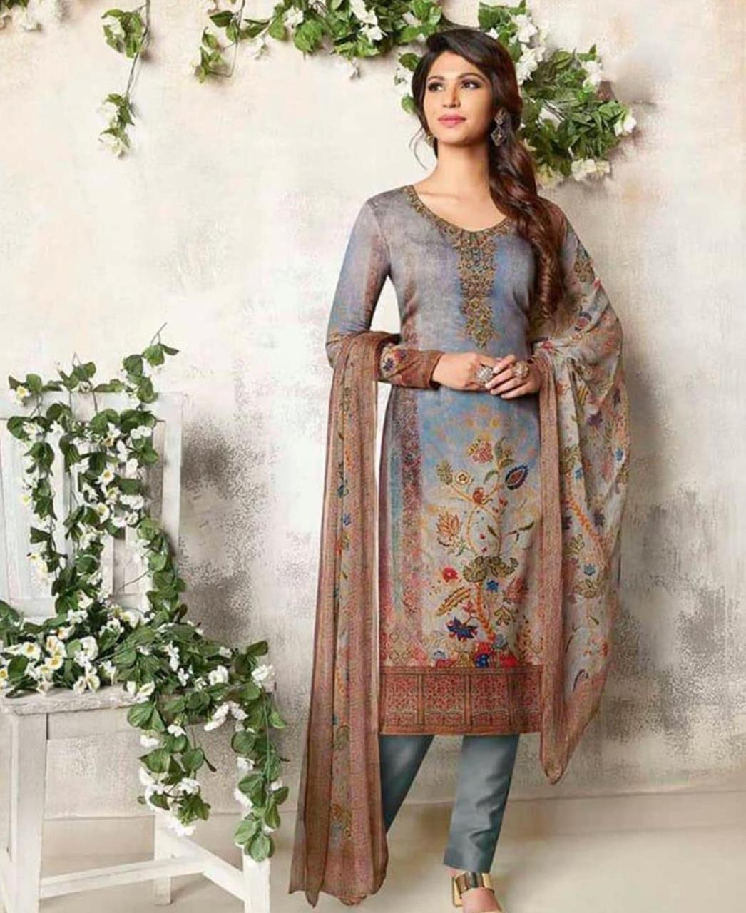 Embroidered Cotton Gray Straight Cut Salwar